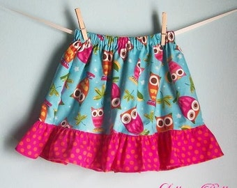 Lillian Belle Girls Ruffle Skirt Pink Owls on Blue Custom Size 6M 12M 18M 2T 3T 4T 5 6