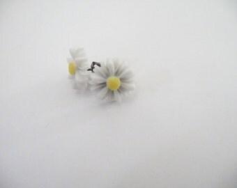 Yellow/White Daisy Resin Post Earrings