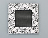 Black and White Swirl Picture Frame Magnet