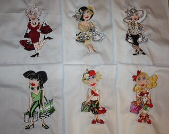 Lets Go Shopping Machine Embroidered Quilt Blocks Set