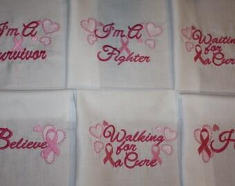 Breast Cancer Machine Embroidered Quilt Blocks Set