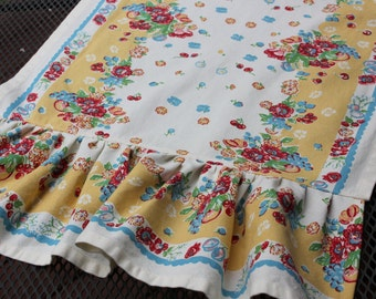 Floral Cotton Table Runner - Ruffled or Unruffled - Different Lengths Available