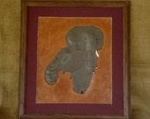 "Hand Carved 3D Leather Art  ""Elephants""  16""  x  14"""
