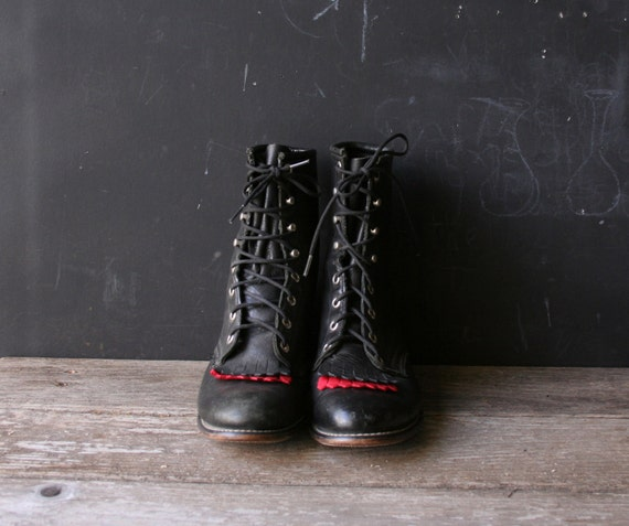 Vintage Roper Style Boots Black With Red Size 7 M From Nowvintage on Etsy