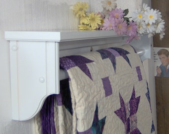 """White 36"""" quilt rod with shelf"""