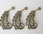 Antiqued Brass Ox Filigree Feather Leaf Drop Charm Pendant Stamping Finding 30mm drp0038 (4)