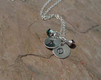 Initial Me Two - Personalized Initial Charm Necklace - Birthstone Jewelry - Mothers Necklace - Sterling Silver - Handstamped Necklace