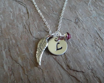 Personalized Initial Angel Wing Charm Necklace - Birthstone Jewelry - Mothers Necklace - Sterling Silver - Handstamped Necklace
