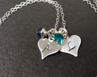 Two Personalized Initial Heart Charm Necklace - Birthstone Jewelry - Mothers Necklace - Sterling Silver - Handstamped Necklace