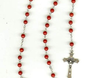 Handmade Rosary Necklace in Red Coral with Rose Center Piece & St. Benedict Crucifix