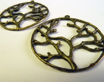 2 Large Bronze Tree of Life Charms SALE SALE SALE reduced