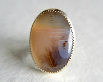 Montana Agate ring, metalwork jewelry, sterling silver, ring size 5 - Drifting