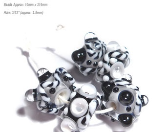 TUX and TIES Handmade Lampwork Beads Black and  White Bold Textured Set of 5