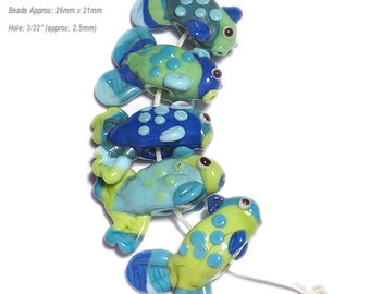 GONE FISHING Lampwork Beads Handmade Fish in Sea Colors of Blue Turquoise Green Aqua Set of 5