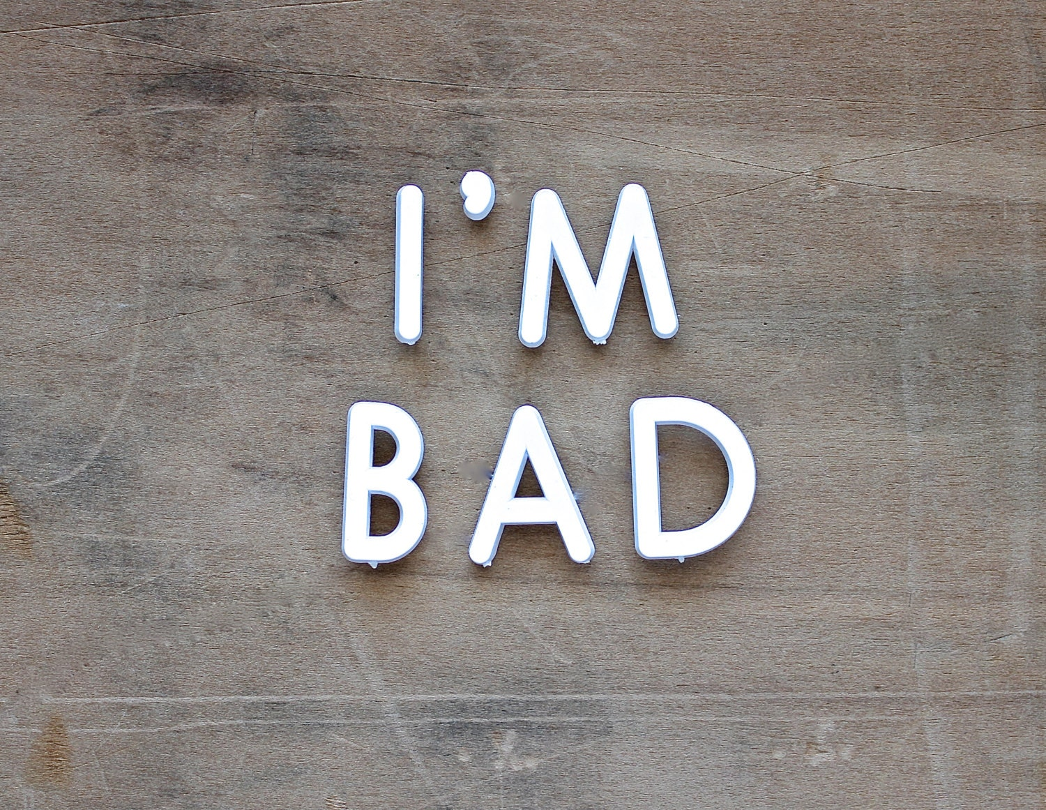 I M Bad Vintage Push Pin Letters Sign Rustic White By Becaruns