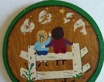 God Is Love, Vintage Plaque, Wooden Wall Hanging, Handpainted Plaque, Metal Hanger, Vintage Home Decor, Vintage Nursery, Childrens Love