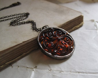 Stained Glass Jewel Necklace Autumn Brown Medallion Jewelry