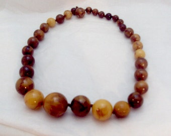 End of Day Butterscotch, Rootbeer Bakelite Vintage Bead Necklace