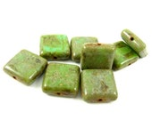 8 - Czech Pressed Glass Square Beads - Green with Rustic Brown Picasso  - 10mm - S2001