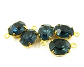 4 - Vintage Glass Oval Stones in 1 Ring Closed Back Brass Prong Settings - Montana Blue - 10x8mm
