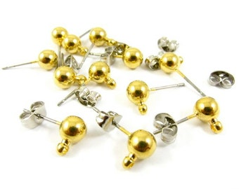 Gold Plated Brass Ball with Ring Earstuds - 6mm - 10 sets