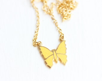 Enamel Butterfly Necklace - Yellow or Green