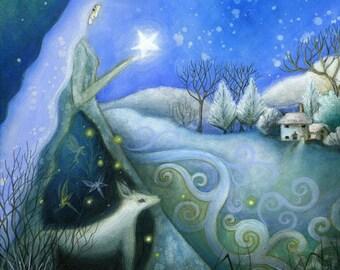A fairytale art print .   'Winter's Dream' by Amanda Clark.  Winter Wonderland, Winter scene, Illustrations, Goddess