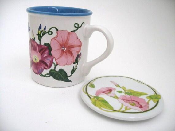 Coffee- Tea mug with lid - Morning Glories Potpourri Press -White with ...