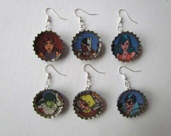 Teen Titans Bottle Cap Earrings
