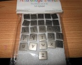 RESERVED for Lauren ES Pewter Lowercase Alphabet Thumbtacks 26 letters By MissChuga