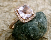 Lavender Lilac Rose de France Amethyst Engagement Ring in 14k Rose Gold with Diamonds Size 7