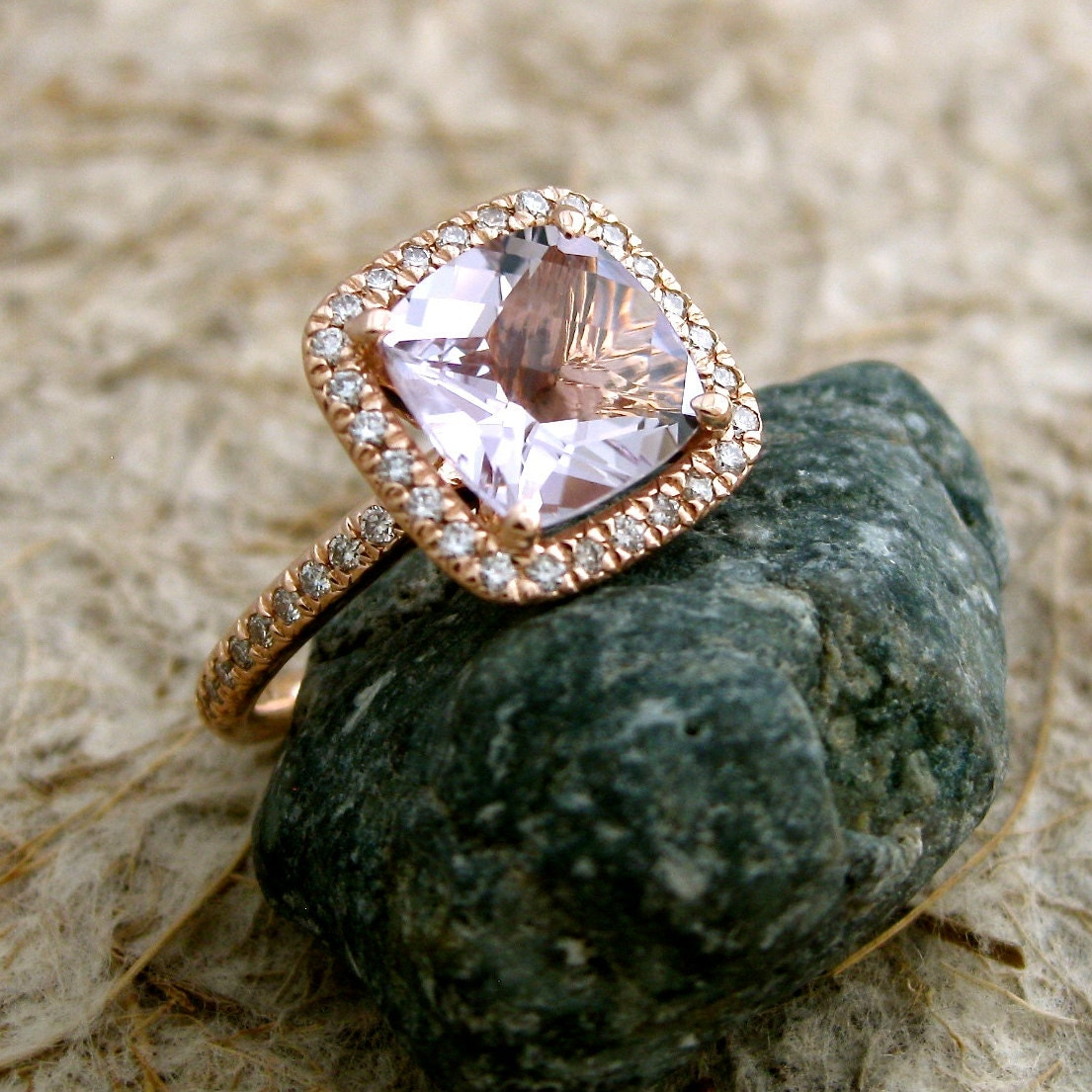 Amethyst Engagement Ring In 14k Rose Gold With Diamonds Size 7 🔎zoom