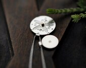 Orchid silver coin pendants with dots of gold necklace