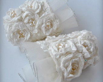 Cuffs, Bridal Cuffs,  Wedding Cuffs, Silk Pearls Cuffs, Bracelet, 70% OFF, Swarovski, Genuine Pearls, Cashmere, Silk, Romantic Eco Luxury