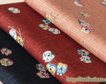 Japanese Traditional Cherry Blossom Floral Hoot Owls-Japanese Cotton Fabric (Fat Quarter, Choose One Color)