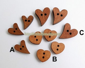 Wooden Buttons, Painted Color - Retro Heart Collection (3 Patterns To Choose)