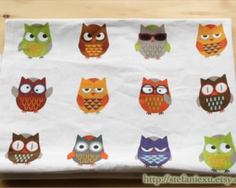 Home Decor, Colorful Geometric Geometry Hoot Owl Collection(Medium Owl)-Linen Cotton Blended (1/2 Yard)