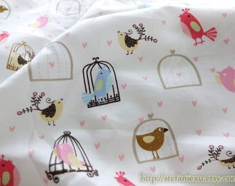 SALE CLEARANCE - 1 Yard Birds Collection, Lovely Colorful Spring Floral Tweeting Bird Birds Birdcage Collection - Cotton Fabric