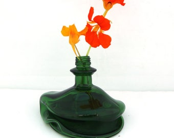 Glass vase, Melted recycled Green  Bottle vase , Fused Glass Eco Friendly