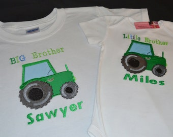 Big Brother Little Brother Tractor Tshirts - Personalized Boys Set of 2 shirts - Green or Red Tractors