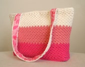 CLEARANCE 50% off, Tote bag in pink and white color blocks, crocheted fully lined