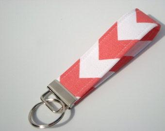Key Fob, Key Chain ,Wristlet  Chevron,  Zig Zag  Coral