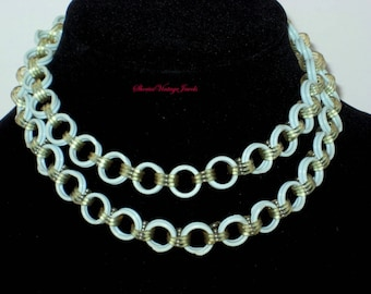 Art Deco  Celluloid Link Necklace Martha Sleeper Style Aqua Double Strand  Beautiful Etched Clasp Vintage Elegance