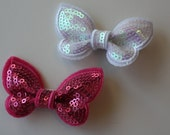 SALE - Girls/Baby Bright Pink and White Sequin Butterfly Hair Clips - set of 2