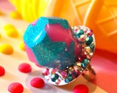 Ring Pop Candy Resin Jewelry - Cotton Candy Pastel Pink - Candy Resin Glitter Ring - Kitsch Kawaii