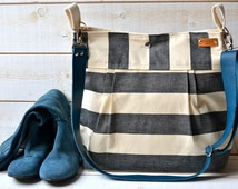 Waterproof Black BEST SELLER Diaper bag/Messenger bag STOCKHOLM  nautical stripe bag 10 Pockets - denim taurillon blue strap