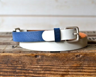 Leather Belt Navy and White  / Women leather belt / Nautical Leather Belt / Men leather belt