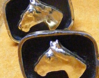 Vintage Cufflinks HORSE Gold Tone and Black Mens Gift