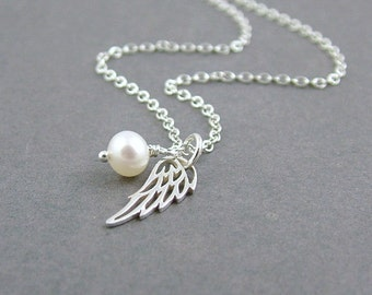 Silver Wing Necklace, Sterling Silver and Freshwater Pearl, Angel Wing Necklace, Remembrance Jewelry, Protection