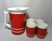 Vintage Pitcher . Tumblers . Red Pitcher Serving Set . Americana